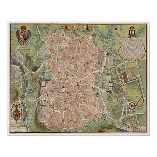 Antique map of Madrid, Spain Poster