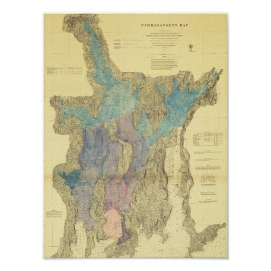 Antique Map of Narragansett Bay Rhode Island Poster