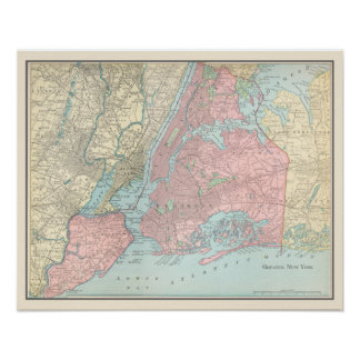 Antique Map of New York City Poster