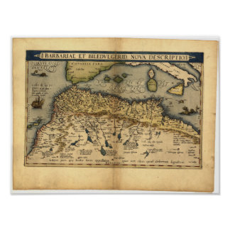 Antique Map of North Africa ORTELIUS ATLAS 1570 A. Poster
