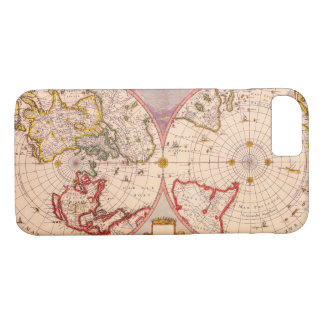 Antique Map of North South Hemispheres Circa 1695 iPhone 7 Case