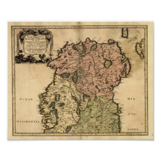 Antique Map of Northern Ireland as of 1665 Poster