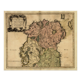 Antique Map of Northern Ireland as of 1665 Posters