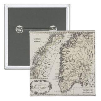 Antique Map of Norway 15 Cm Square Badge
