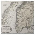 Antique Map of Norway Ceramic Tile
