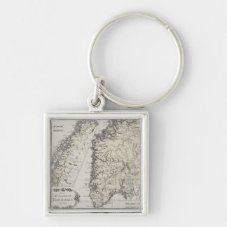 Antique Map of Norway Key Ring