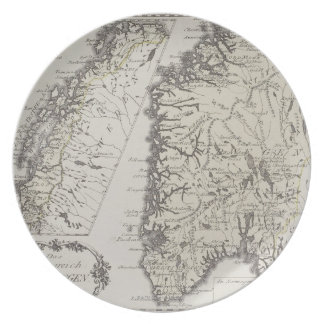Antique Map of Norway Plate