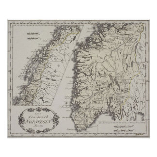 Antique Map of Norway Poster