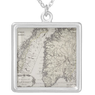 Antique Map of Norway Silver Plated Necklace