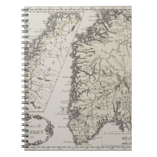 Antique Map of Norway Spiral Notebook