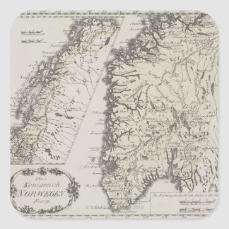 Antique Map of Norway Square Sticker