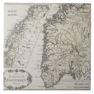 Antique Map of Norway Tile