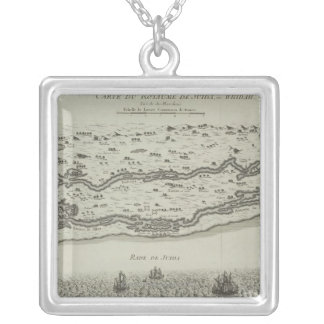 Antique Map of Persian Gulf Silver Plated Necklace