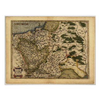 Antique Map of Poland ORTELIUS ATLAS 1570 A.D. Poster