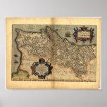 Antique Map of Portugal ORTELIUS ATLAS 1570 A.D. Poster