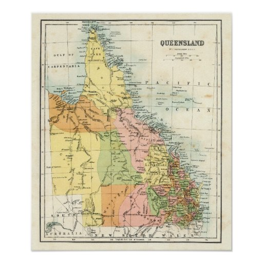Antique map of Queensland Australia Poster