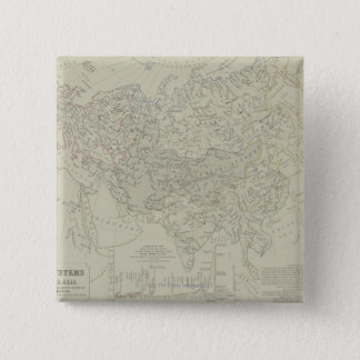 Antique Map of River Systems 15 Cm Square Badge