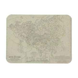 Antique Map of River Systems Rectangular Photo Magnet