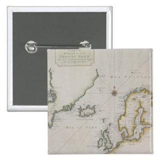 Antique Map of Scandinavia 2 15 Cm Square Badge