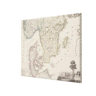 Antique Map of Scandinavia 2 Canvas Print