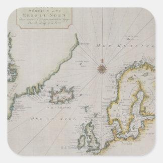 Antique Map of Scandinavia 2 Square Sticker