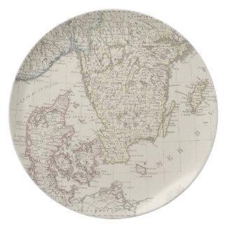 Antique Map of Scandinavia Plate