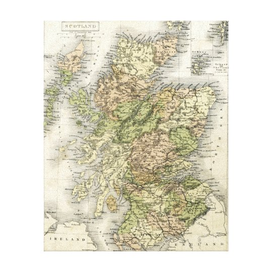 Antique map of Scotland Canvas Print