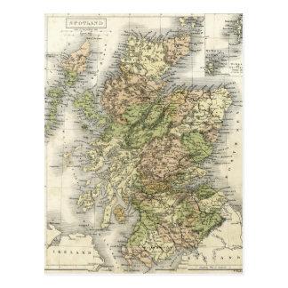Antique map of Scotland Postcard
