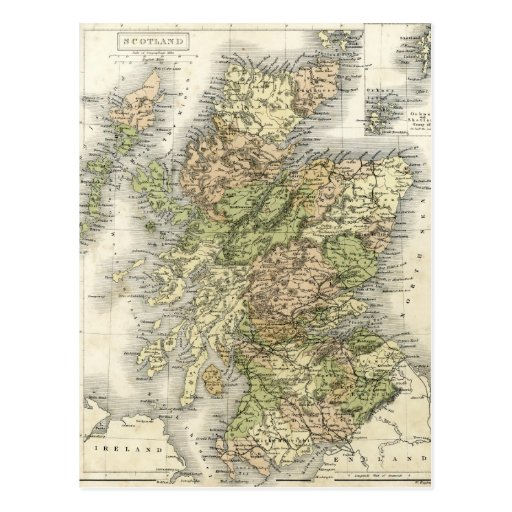 Antique map of Scotland Post Card