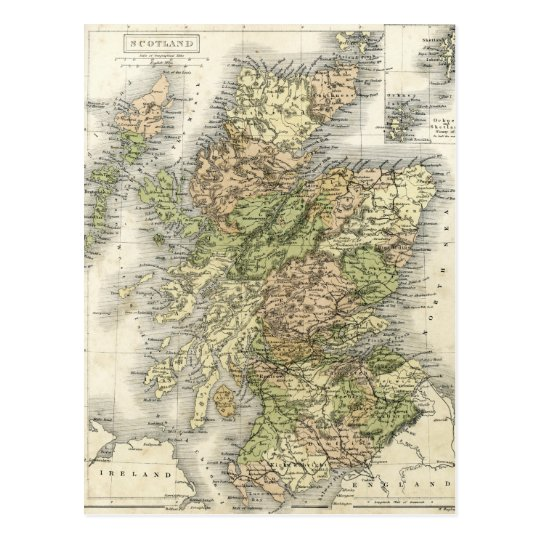Antique map of Scotland Postcard