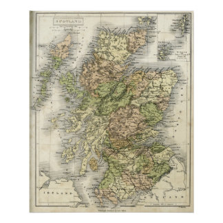 Antique map of Scotland Poster