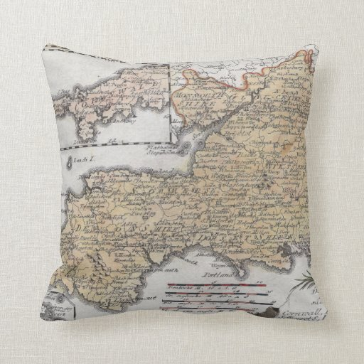 Antique Map of Southern England, Devon, Cornwall Pillows