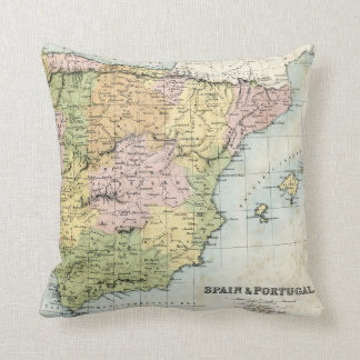 Antique map of Spain and Portugal Cushion