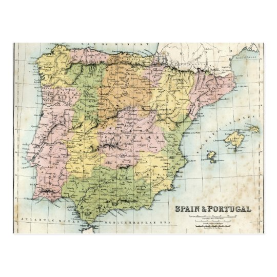 Antique map of Spain and Portugal Postcard