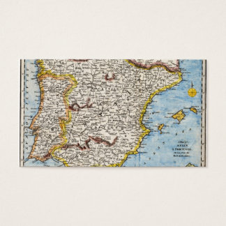 Antique Map of Spain & Portugal circa 1700s Business Card
