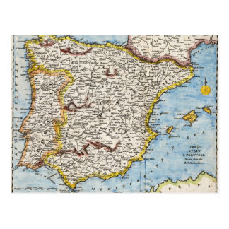 Antique Map of Spain & Portugal circa 1700's Postcard