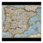 Antique Map of Spain & Portugal circa 1700's Poster