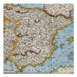 Antique Map of Spain & Portugal circa 1700's Posters
