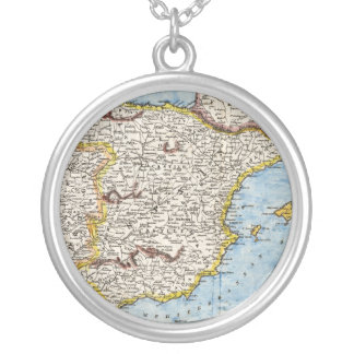 Antique Map of Spain & Portugal circa 1700s Silver Plated Necklace