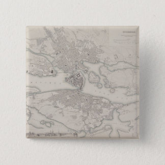 Antique Map of Stockholm, Sweden 15 Cm Square Badge