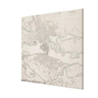 Antique Map of Stockholm, Sweden Canvas Print