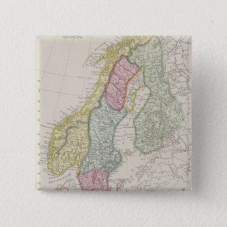 Antique Map of Sweden 15 Cm Square Badge
