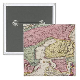 Antique Map of Sweden 2 15 Cm Square Badge