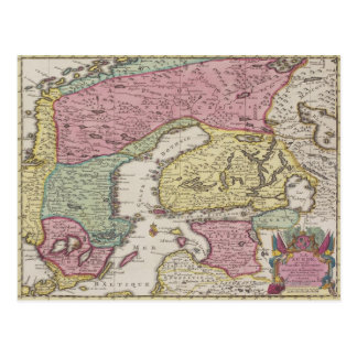 Antique Map of Sweden 2 Postcard