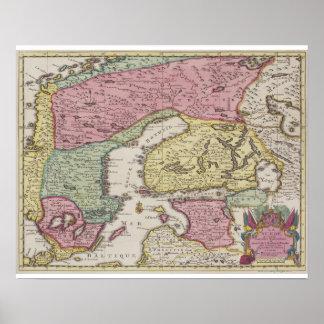 Antique Map of Sweden 2 Poster