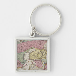Antique Map of Sweden 2 Silver-Colored Square Key Ring