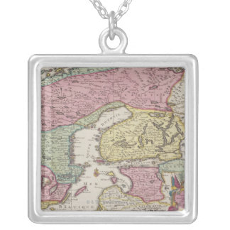 Antique Map of Sweden 2 Silver Plated Necklace