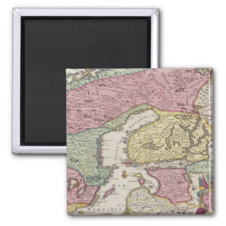 Antique Map of Sweden 2 Square Magnet