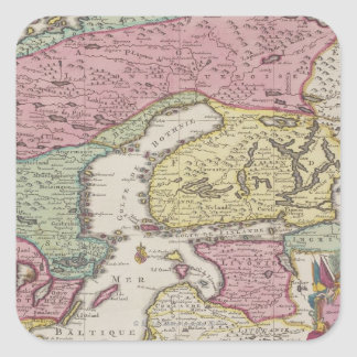 Antique Map of Sweden 2 Square Sticker