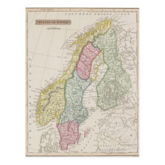 Antique Map of Sweden Post Card